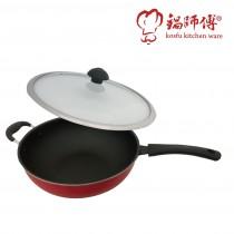 台灣製造鍋師傅 超硬紅色炒鍋 33cm附玻璃蓋-航鈦合金不沾鍋