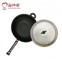 台灣製造鍋師傅 超硬不沾炒鍋 40cm附不銹鋼鍋蓋-航鈦合金不沾鍋