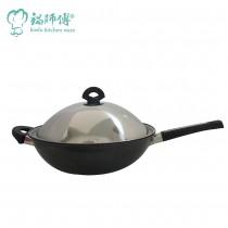 台灣製造鍋師傅 遠紅外線不沾炒鍋 32cm附不銹鋼鍋蓋-航鈦合金不沾鍋備長炭 炒菜鍋